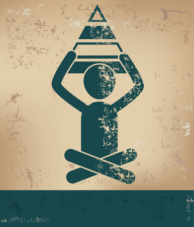 Pyramid concept,human resource on old background,grunge vector