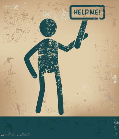 overflow: Help me concept,human resource on old background,grunge vector
