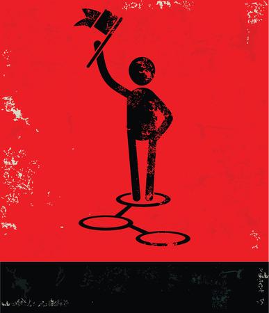 multilevel: Connection concept,human resource design on red background,grunge vector Illustration