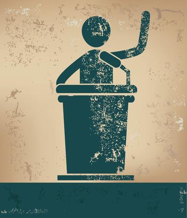 spokesperson: Announcer concept,human resource on old background,grunge vector Illustration