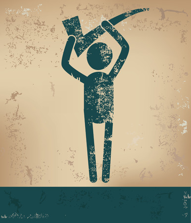 old mark: Checking mark concept, human resource on old background, grunge vector