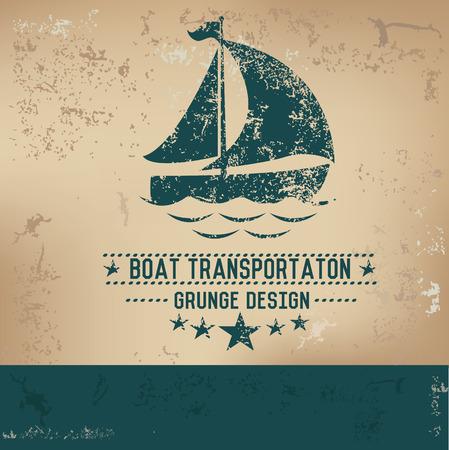 bateau voile: Bateau sur la conception vieux fond, vecteur grunge Illustration