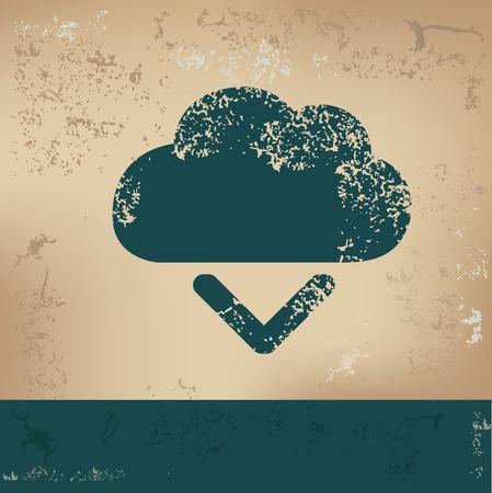 output: Cloud, output design on old background, grunge vector Illustration