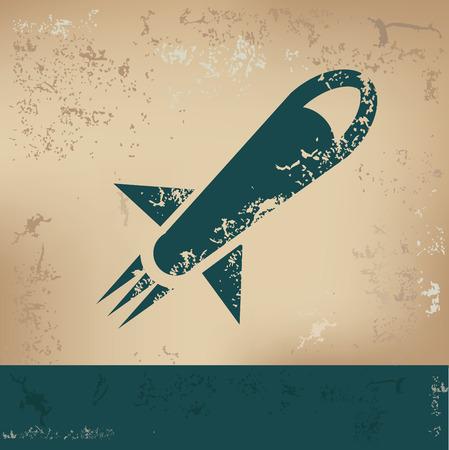 tagline: Rocket design on old paper, grunge vector