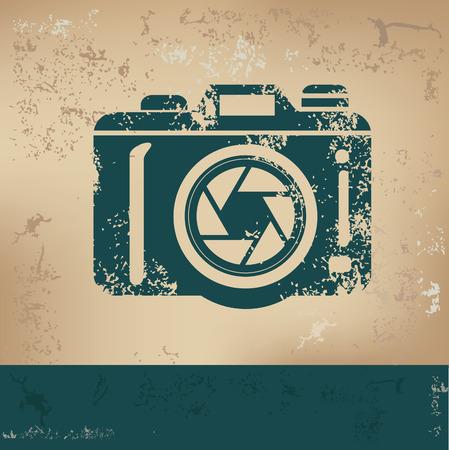 Camera design on old paper, grunge vector