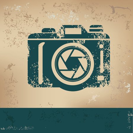 Camera design on old paper, grunge vector