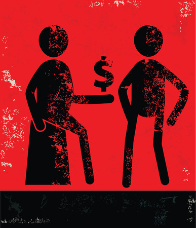 Finance concept,human resource on red background,grunge vector Vector