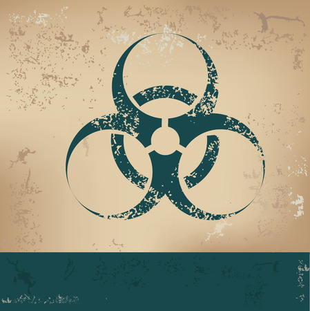 infectious waste: Biohazard design on old paper,grunge vector