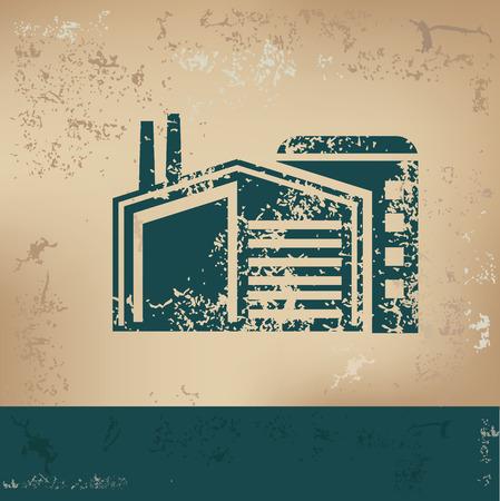 Factory design on old paper, grunge vector Illustration