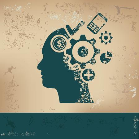 storming: Brain storm design on old paper, grunge vector