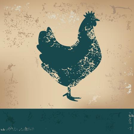 Chicken design on old paper, grunge vector Illustration
