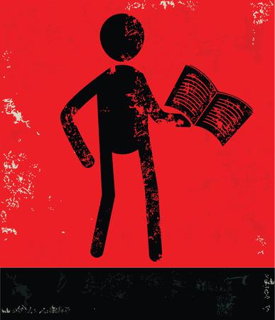 alumnus: Reading concept,human resource design on red background,grunge vector
