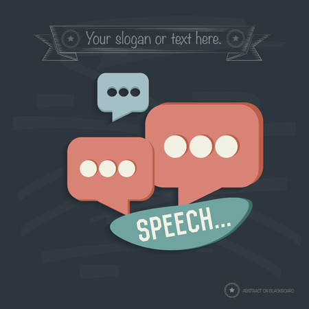 Speech design on blackboard background,clean vector Vector