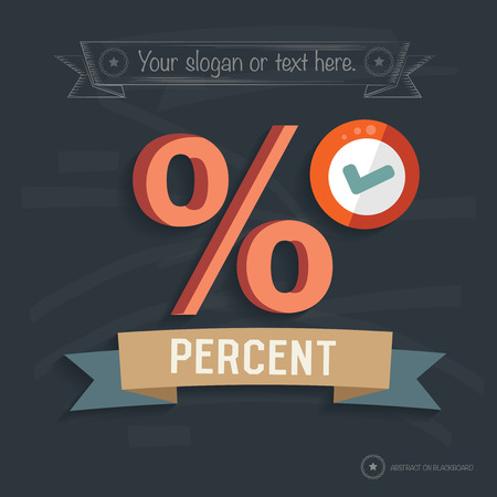 Percent design on blackboard background,clean vector