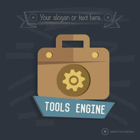Tool engine design on blackboard background, clean vector Vector