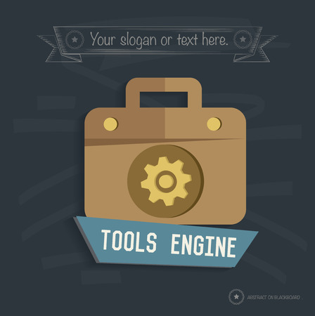 Tool engine design on blackboard background, clean vector Vector
