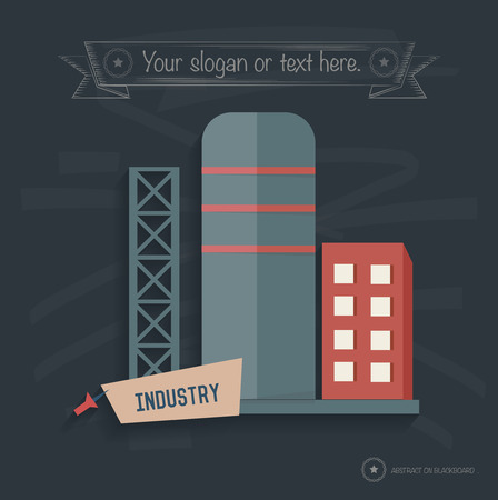 catalyst: Factory industry on blackboard background, clean vector