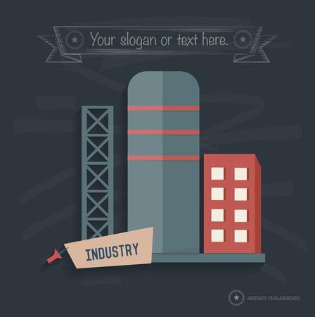distill: Factory industry on blackboard background, clean vector