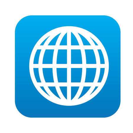 Global icon on blue button, clean vector