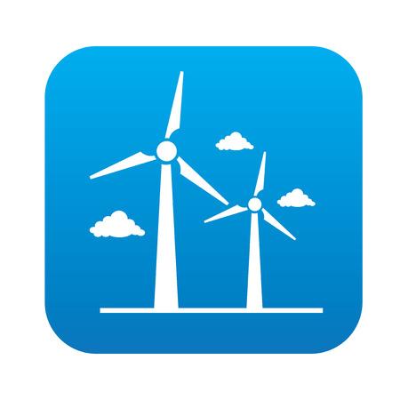 viento: Icono de la turbina de viento en el bot�n azul, limpio vector