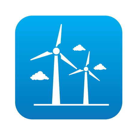 wind energy: Wind turbine icon on blue button, clean vector Illustration