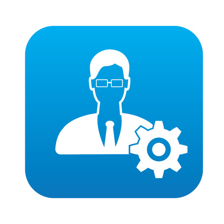 rnabstract: Engineer icon on blue button, clean vector