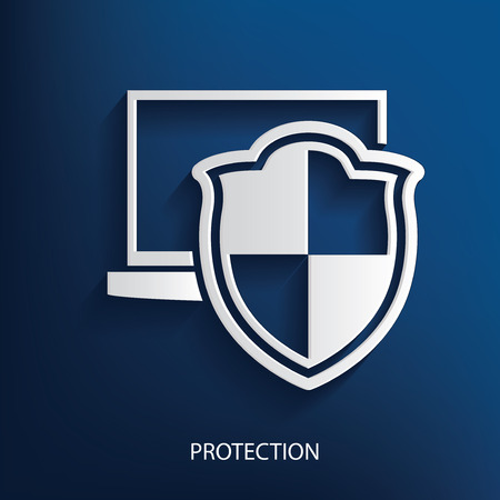 whitern: Protection symbol on blue background, clean vector