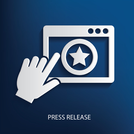 press release: Press release symbol on blue background, clean vector