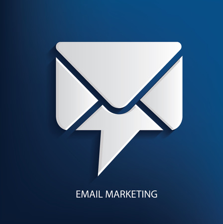 email contact: Email marketing symbol on blue background, clean vector
