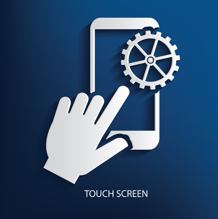 Touch screen on blue background, clean vector Vector