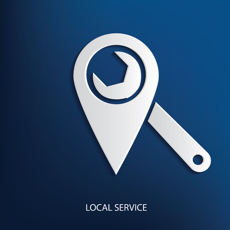 Local service symbol on blue background,clean vector Illustration