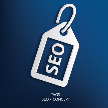optimizing: SEO tag symbol on blue background, clean vector Illustration