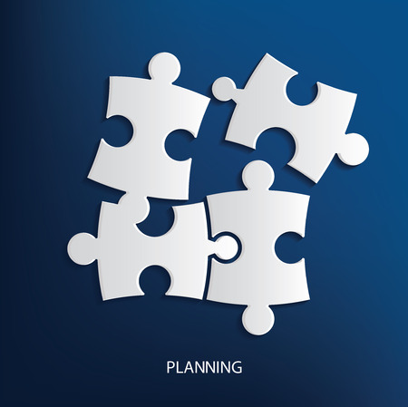 unfinished: Planing concept,puzzle symbol on blue background,clean vector