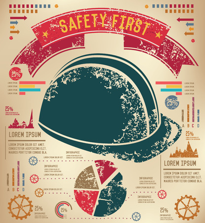 mine data: Hat security design on old paper background,info graphic,grunge vector