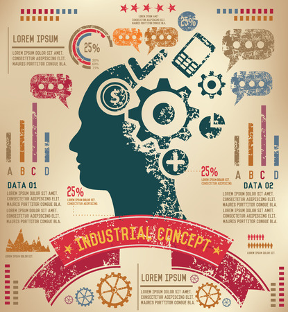 skulp: Brain storm design on old paper background,info graphic,grunge vector