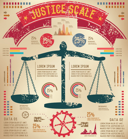 acquittal: Justice scale design on old paper background,info graphic,grunge vector