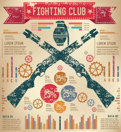 flintlock: Weapon design on old paper background,info graphic,grunge vector Illustration