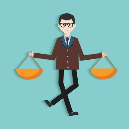 predicament: Justice law,Human resource,Businessman design,clean vector