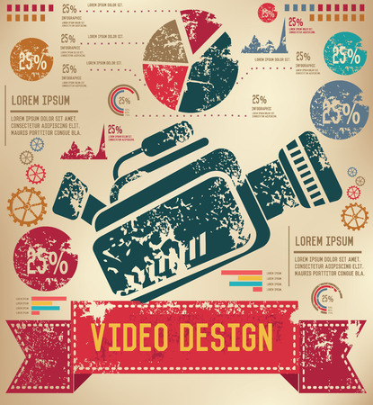 Video info graphic design on old backgroundvector Vector