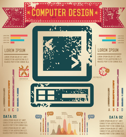 Computer info graphic design on old backgroundvector Vector