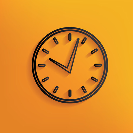 yellowrn: Clock design on yellow background,clean vector