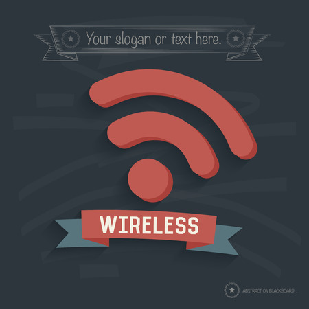 cell phone transmitter tower: Wireless design on blackboard background,clean vector