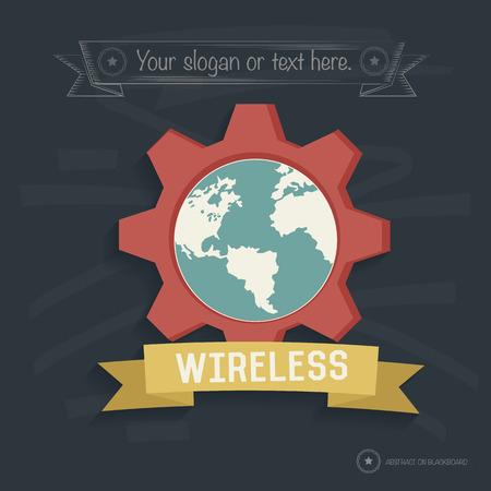 Global design on blackboard background,clean vector