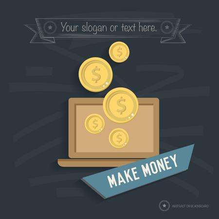 wwwrn: Make money design on blackboard background,clean vector Illustration