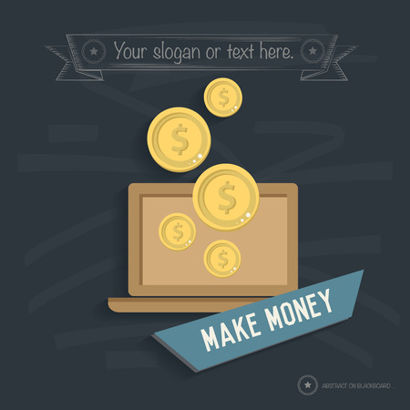 Make money design on blackboard background,clean vector Illustration