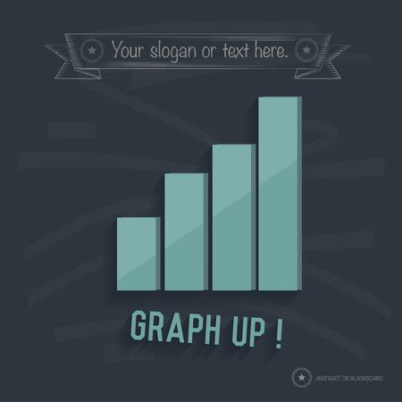Graph up design on blackboard background,clean vector Vector