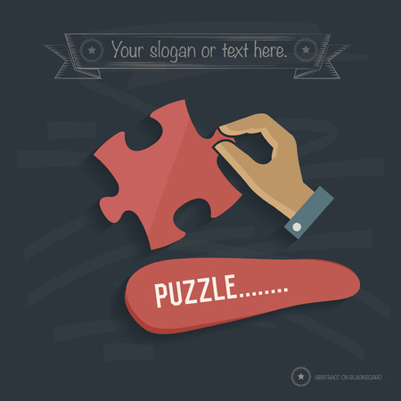 rnabstract: Puzzle design on blackboard background,clean vector