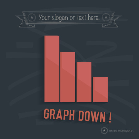 rn3d: Graph down on blackboard background,clean vector