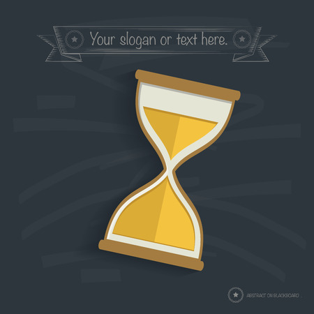 woodenrn: Hourglass design on blackboard background, clean vector