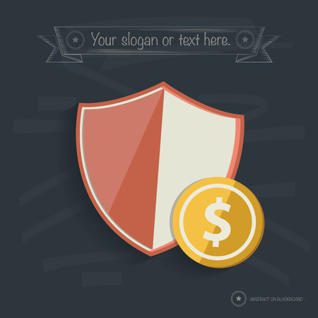 iron defense: Safety money design on blackboard background, clean vector
